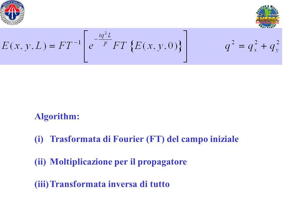 Algorithm: (i)Trasformata di Fourier (FT) del campo iniziale (ii)Moltiplicazione per il propagatore (iii)Transformata inversa di tutto
