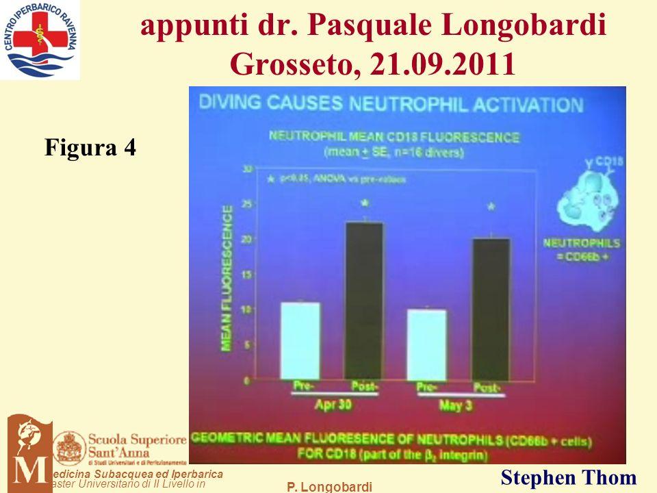 P. Longobardi aster Universitario di II Livello in edicina Subacquea ed Iperbarica Stephen Thom appunti dr. Pasquale Longobardi Grosseto, 21.09.2011 F