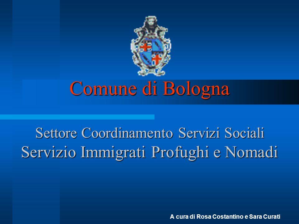 Comune di Bologna Settore Coordinamento Servizi Sociali Servizio Immigrati Profughi e Nomadi A cura di Rosa Costantino e Sara Curati