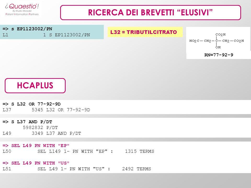 RICERCA DEI BREVETTI ELUSIVI L32 = TRIBUTILCITRATO => s EP1123002/PN L1 1 S EP1123002/PN HCAPLUS RN=77-92-9 => S L37 AND P/DT 5982832 P/DT L49 3349 L3