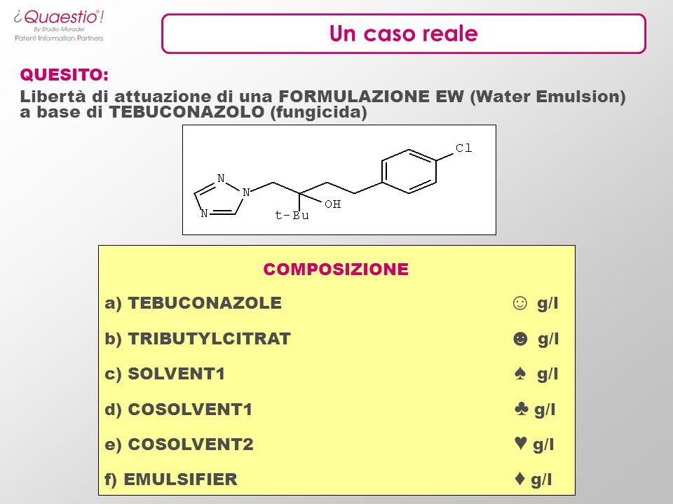 Un caso reale QUESITO: Libertà di attuazione di una FORMULAZIONE EW (Water Emulsion) a base di TEBUCONAZOLO (fungicida) COMPOSIZIONE a) TEBUCONAZOLE g