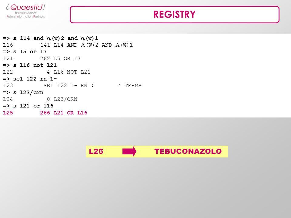 REGISTRY => s l14 and (w)2 and (w)1 L16 141 L14 AND (W)2 AND (W)1 => s l5 or l7 L21 262 L5 OR L7 => s l16 not l21 L22 4 L16 NOT L21 => sel l22 rn 1- L