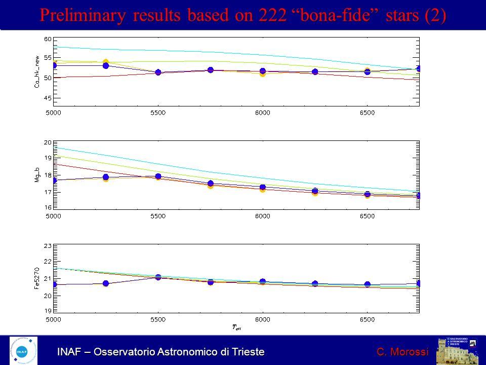 INAF – Osservatorio Astronomico di Trieste C. Morossi Preliminary results based on 222 bona-fide stars (2)