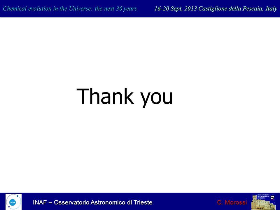 INAF – Osservatorio Astronomico di Trieste C. Morossi Thank you Chemical evolution in the Universe: the next 30 years 16-20 Sept, 2013 Castiglione del