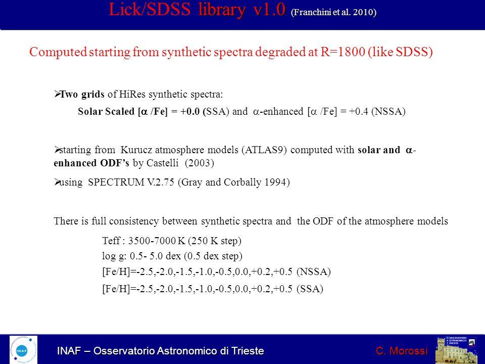 INAF – Osservatorio Astronomico di Trieste C. Morossi library v1.0 (Franchini et al. 2010) Lick/SDSS library v1.0 (Franchini et al. 2010) Computed sta