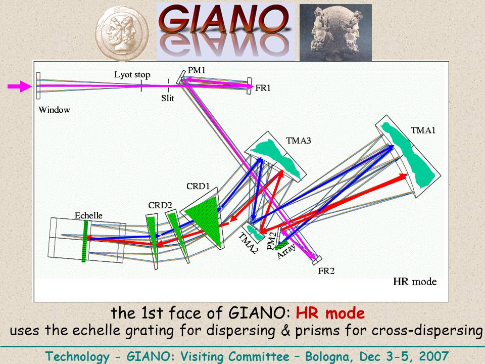 the 1st face of GIANO: HR mode uses the echelle grating for dispersing & prisms for cross-dispersing Technology - GIANO: Visiting Committee – Bologna, Dec 3-5, 2007