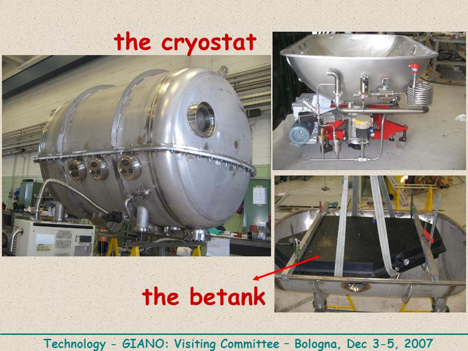 Technology - GIANO: Visiting Committee – Bologna, Dec 3-5, 2007 the betank the cryostat