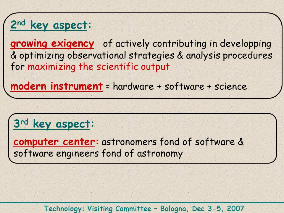 2 nd key aspect: growing exigency of actively contributing in developping & optimizing observational strategies & analysis procedures for maximizing the scientific output modern instrument = hardware + software + science 3 rd key aspect: computer center : astronomers fond of software & software engineers fond of astronomy Technology: Visiting Committee – Bologna, Dec 3-5, 2007