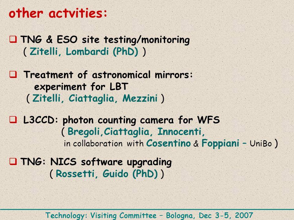 other actvities: TNG & ESO site testing/monitoring ( Zitelli, Lombardi (PhD) ) Treatment of astronomical mirrors: experiment for LBT ( Zitelli, Ciattaglia, Mezzini ) L3CCD: photon counting camera for WFS ( Bregoli,Ciattaglia, Innocenti, in collaboration with Cosentino & Foppiani – UniBo ) TNG: NICS software upgrading ( Rossetti, Guido (PhD) ) Technology: Visiting Committee – Bologna, Dec 3-5, 2007