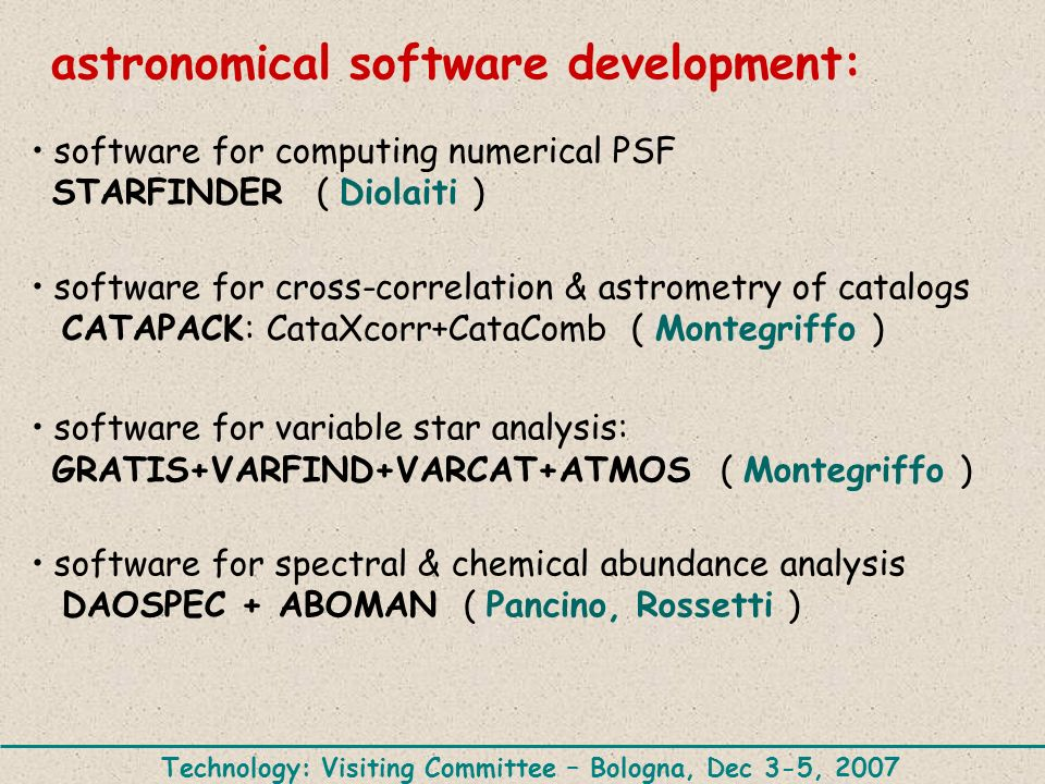 astronomical software development: software for computing numerical PSF STARFINDER ( Diolaiti ) software for cross-correlation & astrometry of catalog
