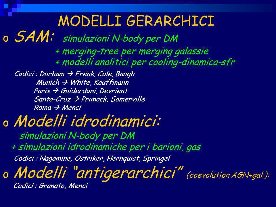 MODELLI GERARCHICI o SAM: simulazioni N-body per DM + merging-tree per merging galassie + modelli analitici per cooling-dinamica-sfr Codici : Durham Frenk, Cole, Baugh Munich White, Kauffmann Paris Guiderdoni, Devrient Santa-Cruz Primack, Somerville Roma Menci o Modelli idrodinamici: simulazioni N-body per DM + simulazioni idrodinamiche per i barioni, gas Codici : Nagamine, Ostriker, Hernquist, Springel o Modelli antigerarchici (coevolution AGN+gal.): Codici : Granato, Menci