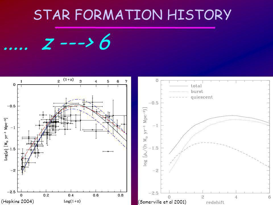 STAR FORMATION HISTORY..... z ---> 6 (Hopkins 2004) (Somerville et al 2001)