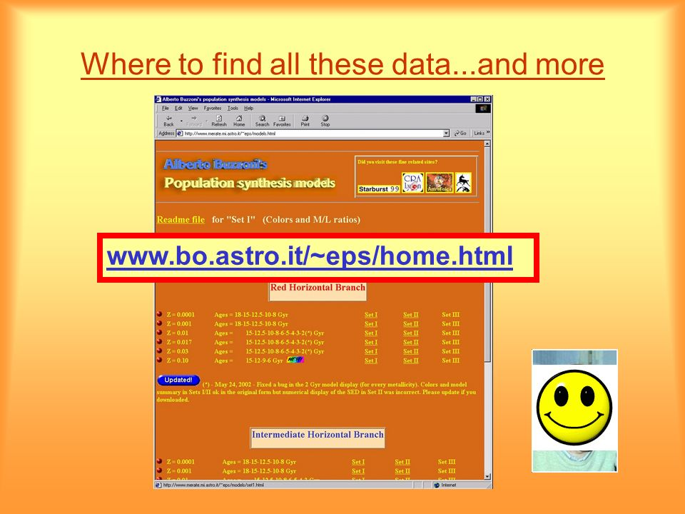 Where to find all these data...and more www.bo.astro.it/~eps/home.html