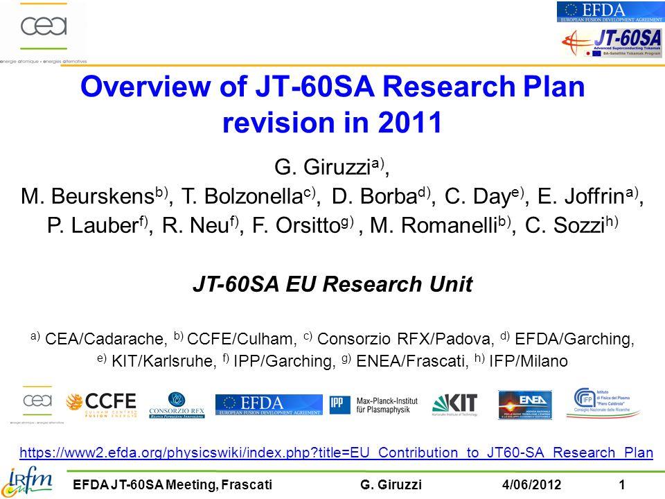 22EFDA JT-60SA Meeting, Frascati G.Giruzzi4/06/2012 Ch.