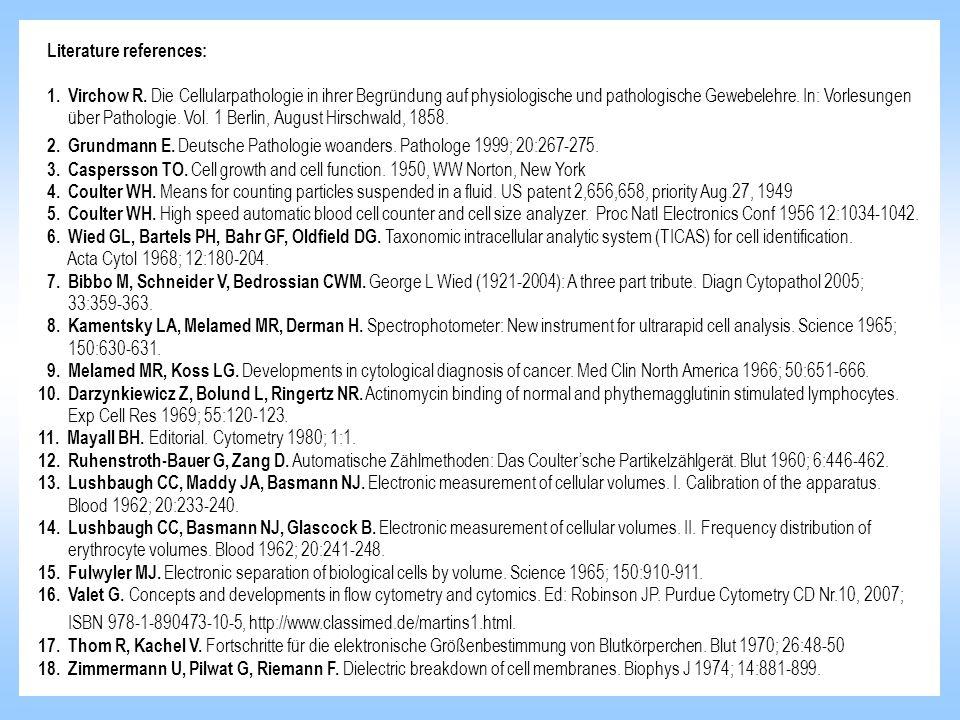 Literature references: 1. Virchow R. Die Cellularpathologie in ihrer Begründung auf physiologische und pathologische Gewebelehre. In: Vorlesungen über