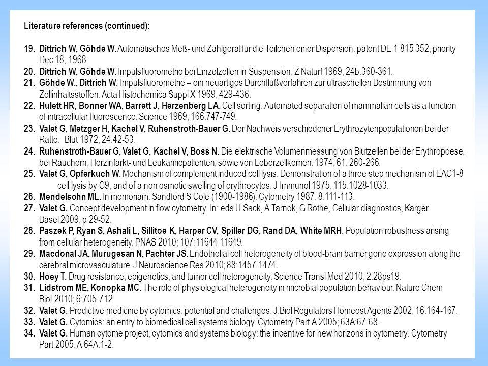 Literature references (continued): 19. Dittrich W, Göhde W. Automatisches Meß- und Zählgerät für die Teilchen einer Dispersion. patent DE 1 815 352, p