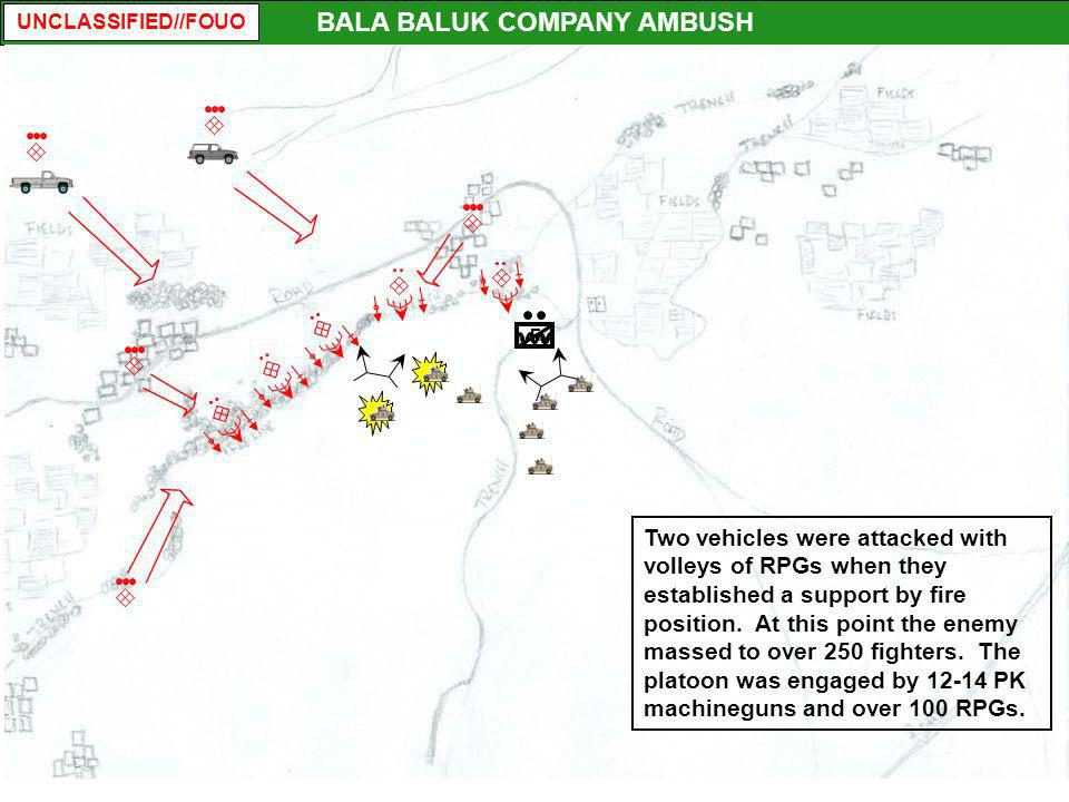 UNCLASSIFIED//FOUO F BALA BALUK COMPANY AMBUSH Two vehicles were attacked with volleys of RPGs when they established a support by fire position. At th