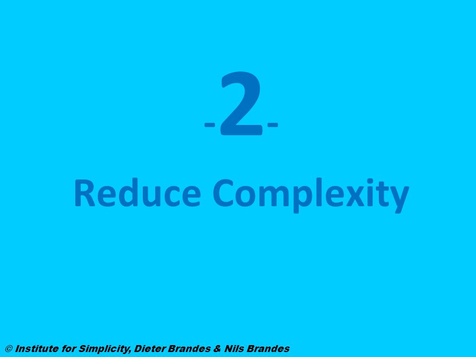 -2--2- Reduce Complexity © Institute for Simplicity, Dieter Brandes & Nils Brandes