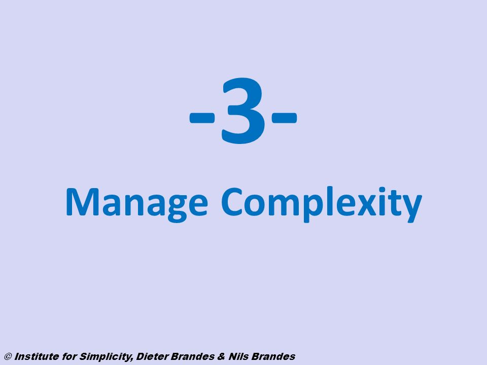 -3- Manage Complexity © Institute for Simplicity, Dieter Brandes & Nils Brandes