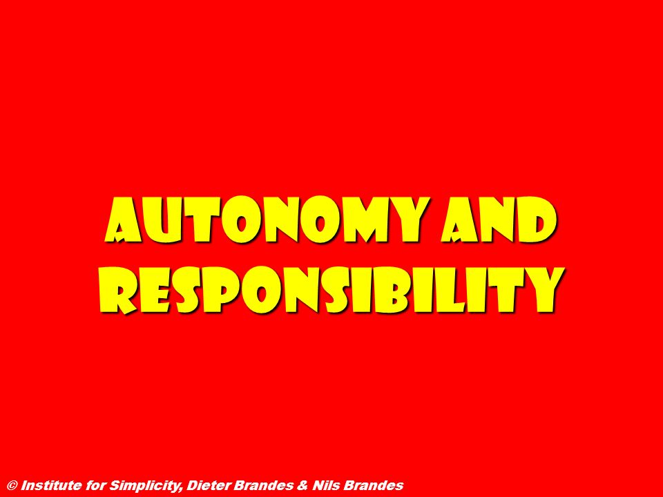 Autonomy and Responsibility © Institute for Simplicity, Dieter Brandes & Nils Brandes