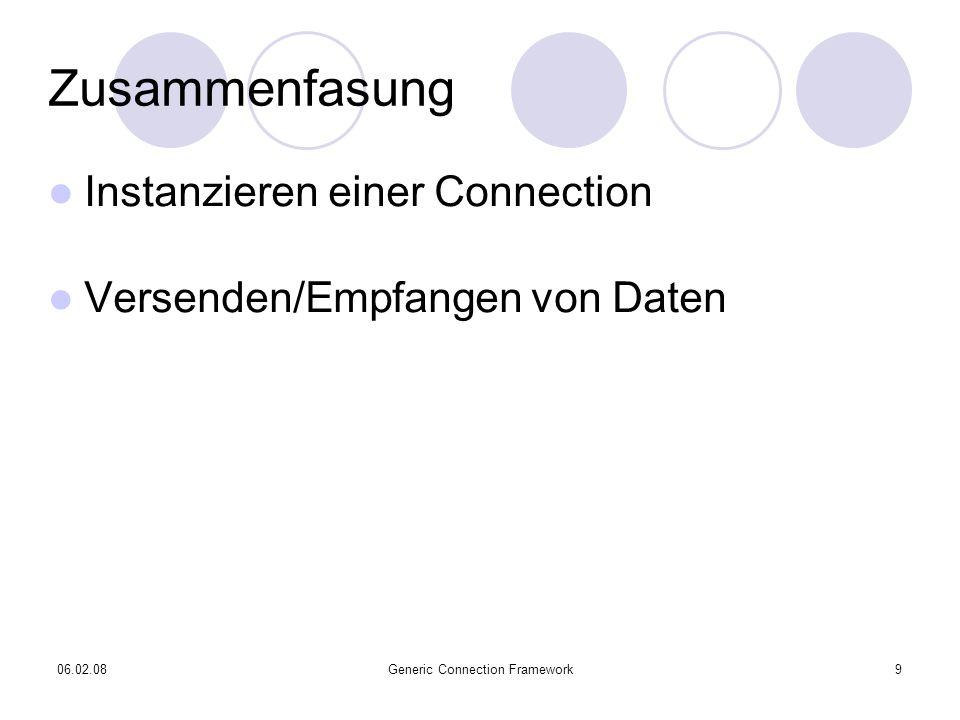 06.02.08Generic Connection Framework9 Zusammenfasung Instanzieren einer Connection Versenden/Empfangen von Daten