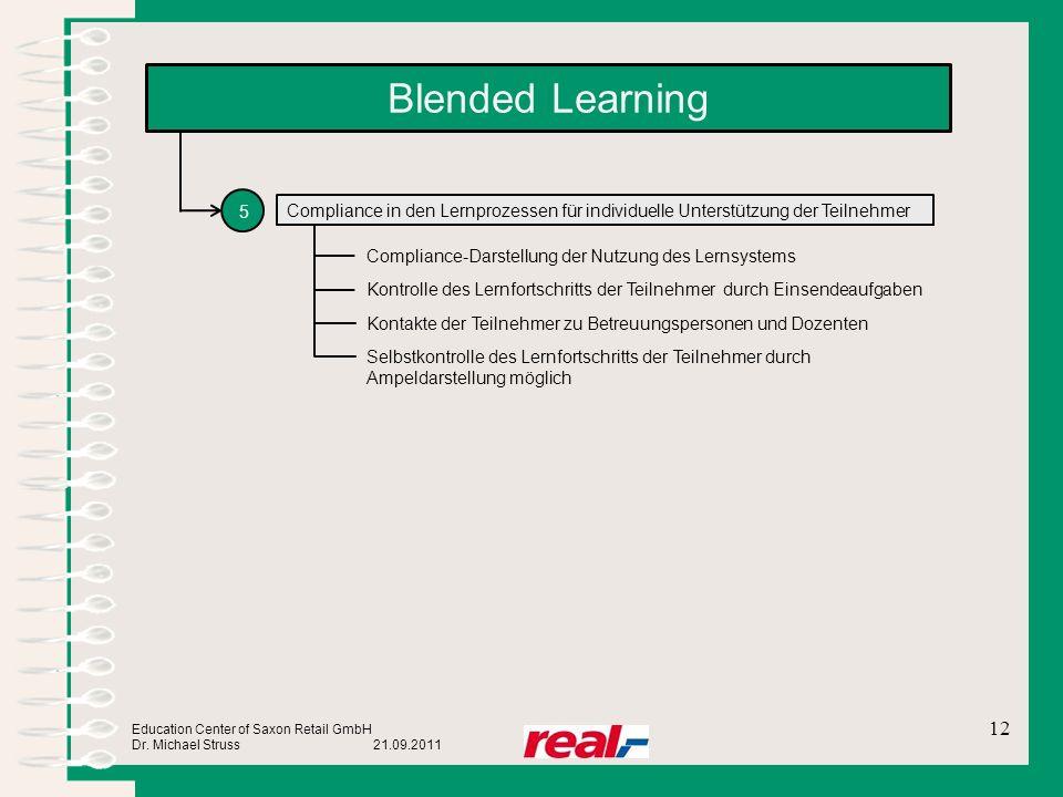 Education Center of Saxon Retail GmbH Dr. Michael Struss 21.09.2011 Blended Learning 12 5 Compliance in den Lernprozessen für individuelle Unterstützu