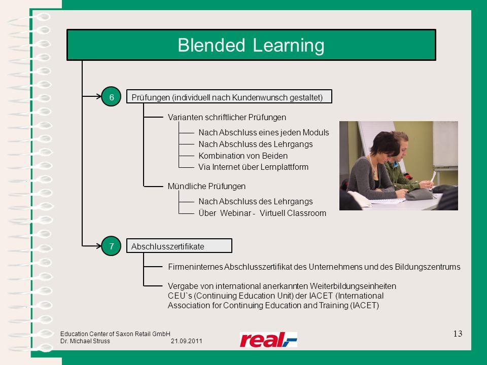 Education Center of Saxon Retail GmbH Dr. Michael Struss 21.09.2011 Blended Learning 6 7 Prüfungen (individuell nach Kundenwunsch gestaltet) Abschluss