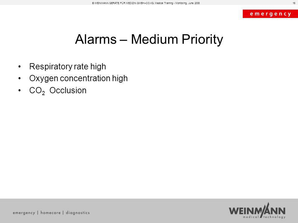 © WEINMANN GERÄTE FÜR MEDIZIN GMBH+CO.KG, Medical Training - Monitoring, June 200816 Alarms – Medium Priority Respiratory rate high Oxygen concentrati