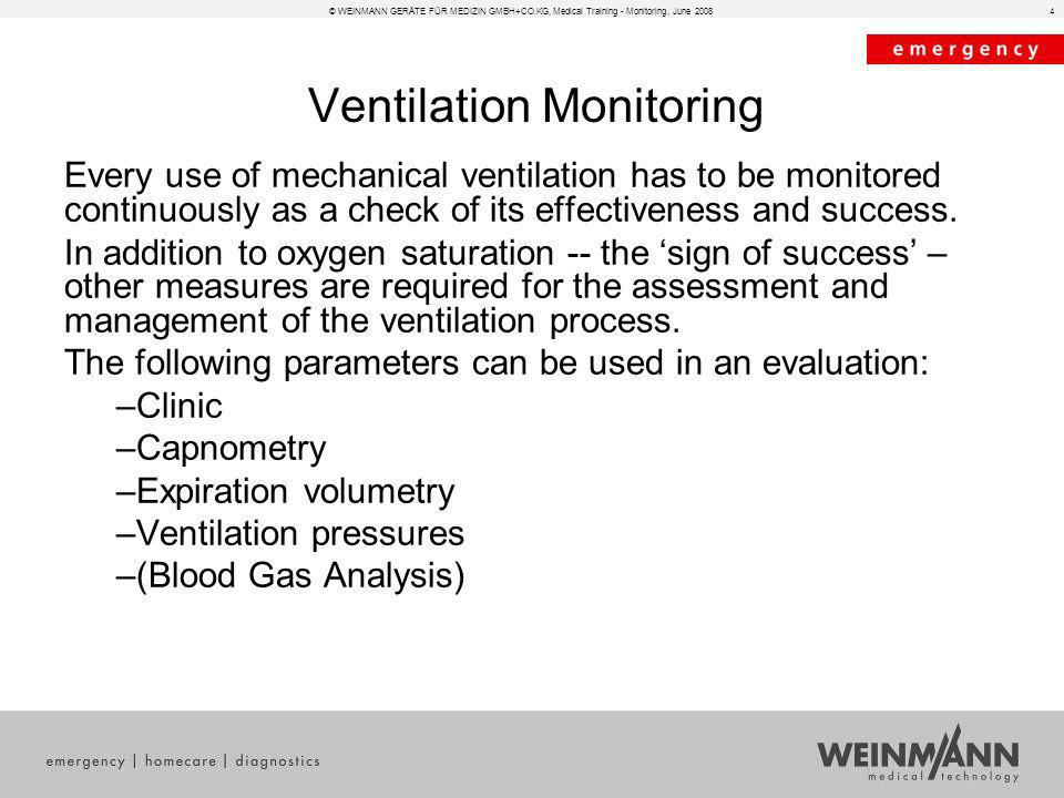 © WEINMANN GERÄTE FÜR MEDIZIN GMBH+CO.KG, Medical Training - Monitoring, June 20084 Ventilation Monitoring Every use of mechanical ventilation has to