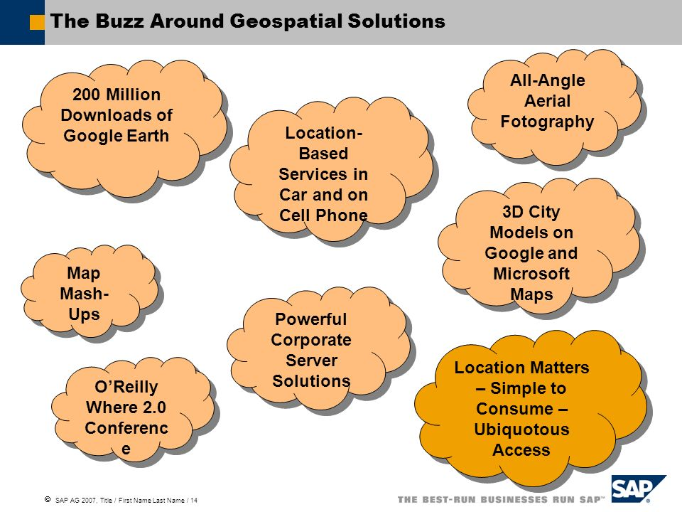 SAP AG 2007, Title / First Name Last Name / 14 The Buzz Around Geospatial Solutions 200 Million Downloads of Google Earth Powerful Corporate Server So