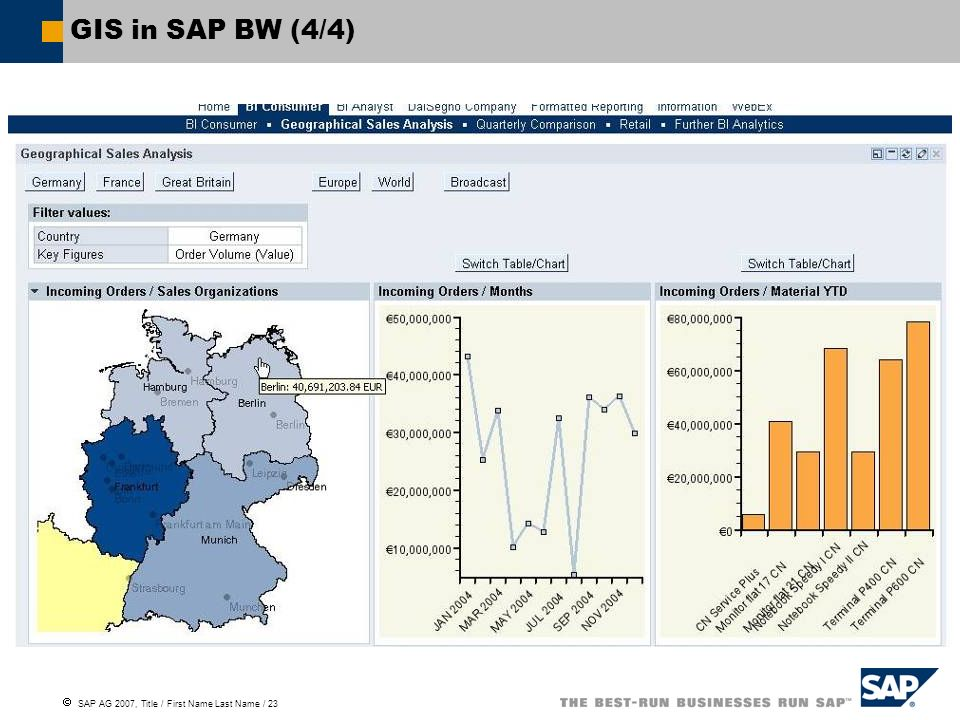 SAP AG 2007, Title / First Name Last Name / 23 GIS in SAP BW (4/4)