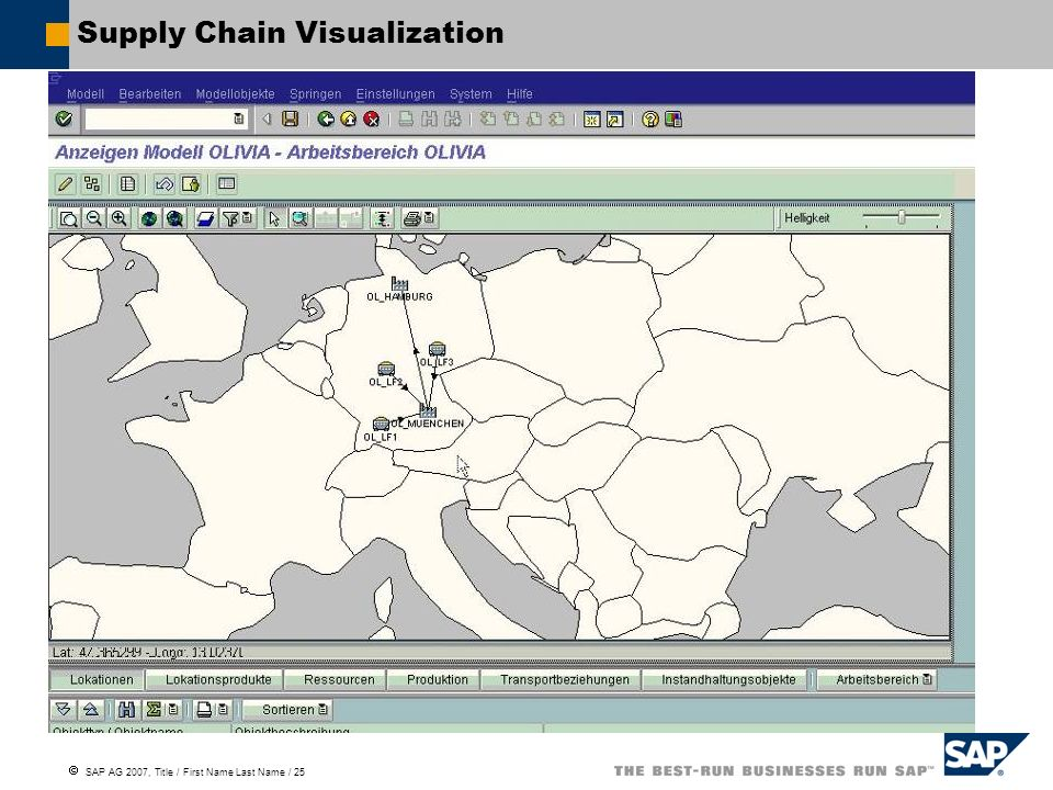 SAP AG 2007, Title / First Name Last Name / 25 Supply Chain Visualization