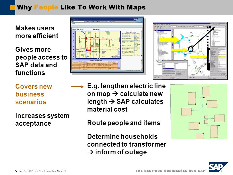 SAP AG 2007, Title / First Name Last Name / 34 Why People Like To Work With Maps Makes users more efficient Gives more people access to SAP data and f