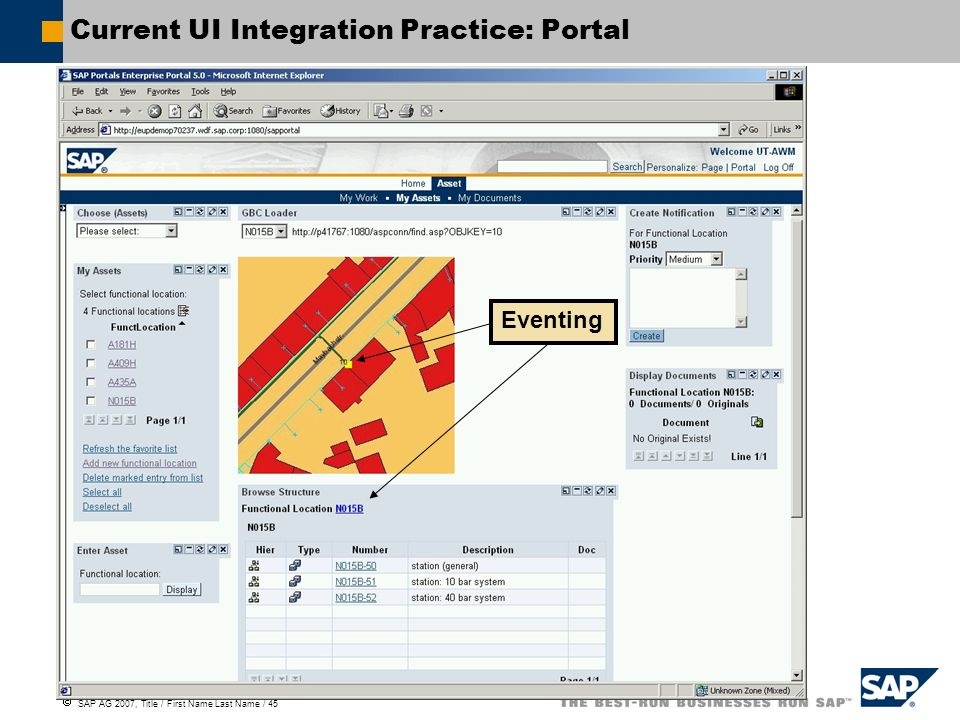 SAP AG 2007, Title / First Name Last Name / 45 Current UI Integration Practice: Portal Eventing