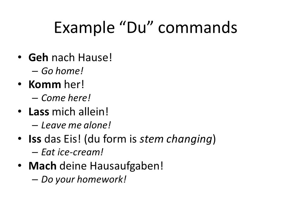 Example Du commands Geh nach Hause! – Go home! Komm her! – Come here! Lass mich allein! – Leave me alone! Iss das Eis! (du form is stem changing) – Ea