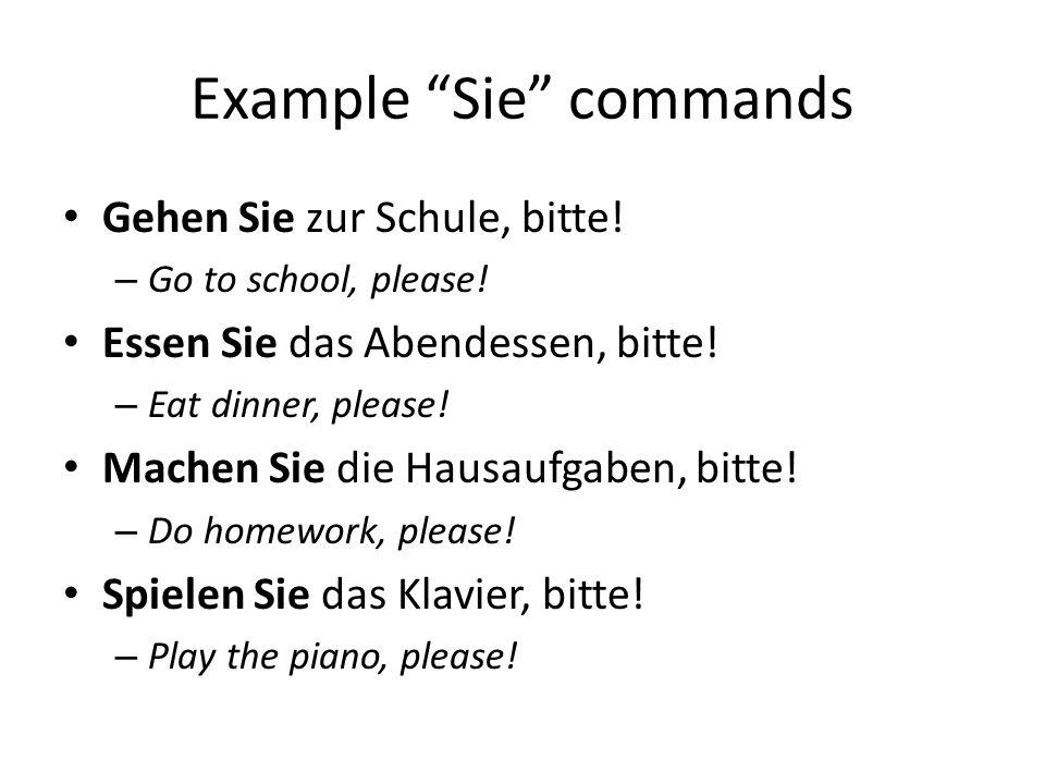Example Sie commands Gehen Sie zur Schule, bitte. – Go to school, please.