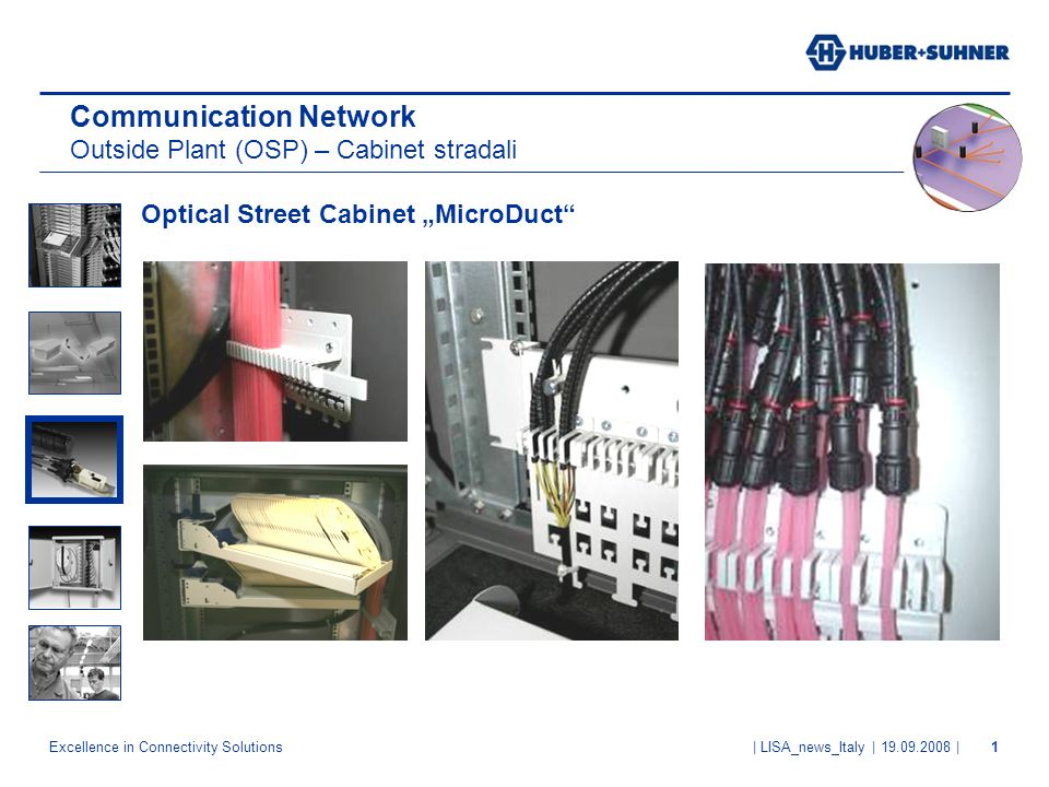 Excellence in Connectivity Solutions | LISA_news_Italy | 19.09.2008 |1 Optical Street Cabinet MicroDuct Communication Network Outside Plant (OSP) – Ca