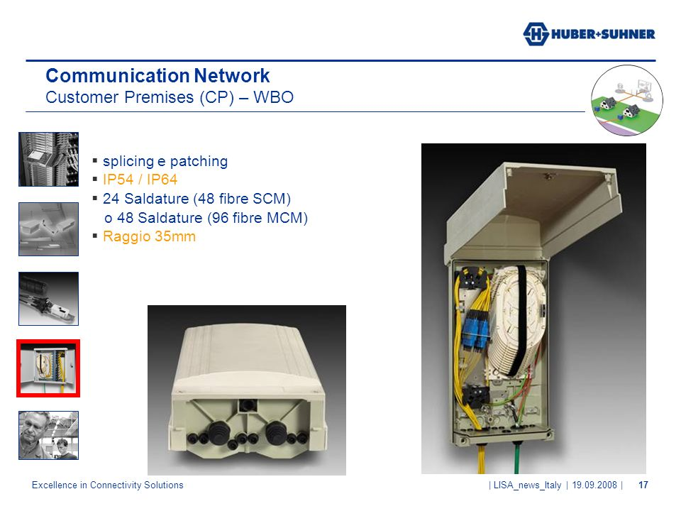 Excellence in Connectivity Solutions | LISA_news_Italy | 19.09.2008 |17 Communication Network Customer Premises (CP) – WBO splicing e patching IP54 /