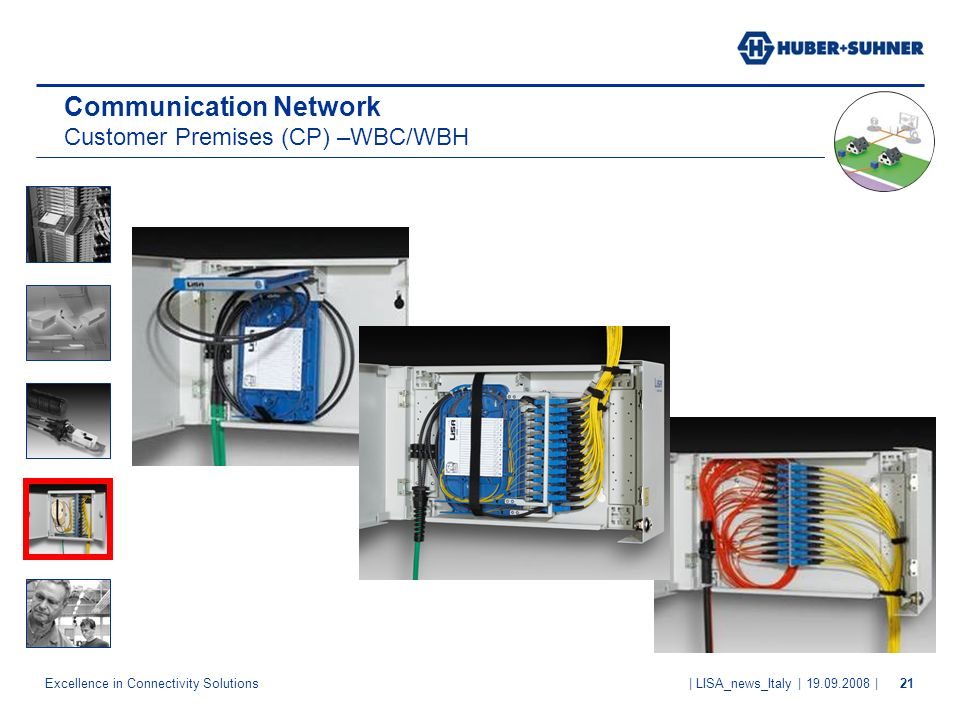 Excellence in Connectivity Solutions | LISA_news_Italy | 19.09.2008 |21 Communication Network Customer Premises (CP) –WBC/WBH