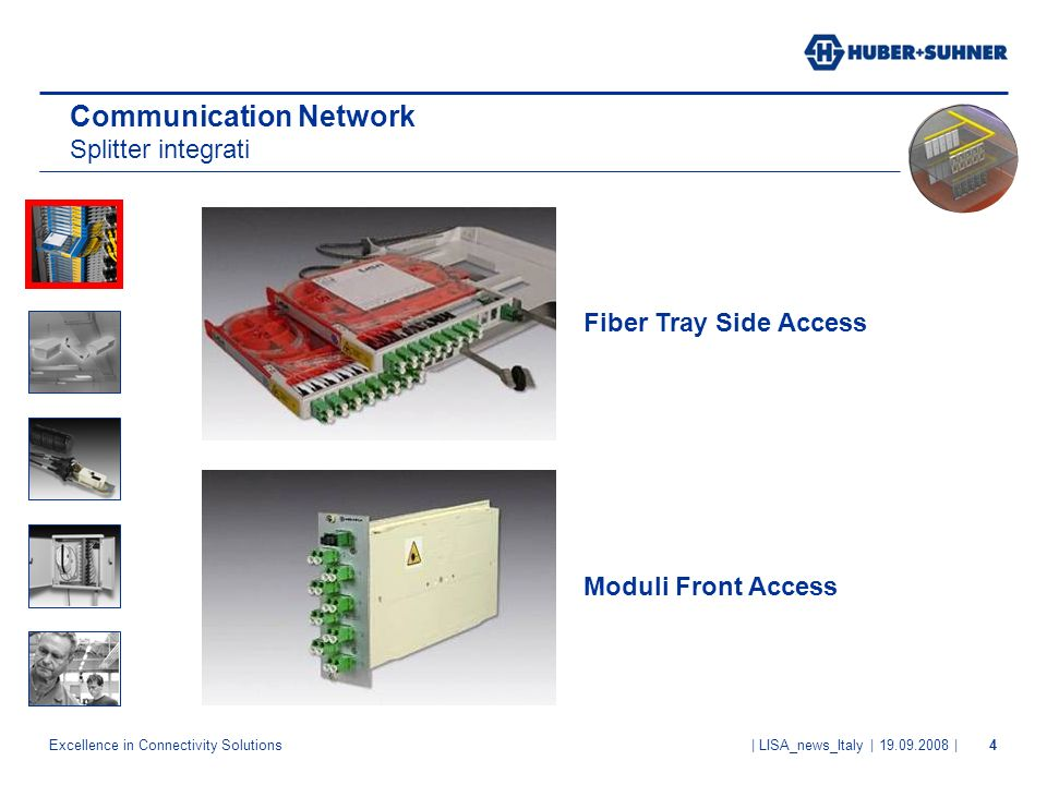 Excellence in Connectivity Solutions | LISA_news_Italy | 19.09.2008 |4 Communication Network Splitter integrati Fiber Tray Side Access Moduli Front Ac