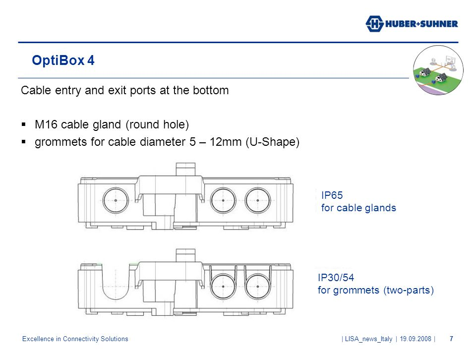 Excellence in Connectivity Solutions | LISA_news_Italy | 19.09.2008 |7 OptiBox 4 Cable entry and exit ports at the bottom M16 cable gland (round hole)
