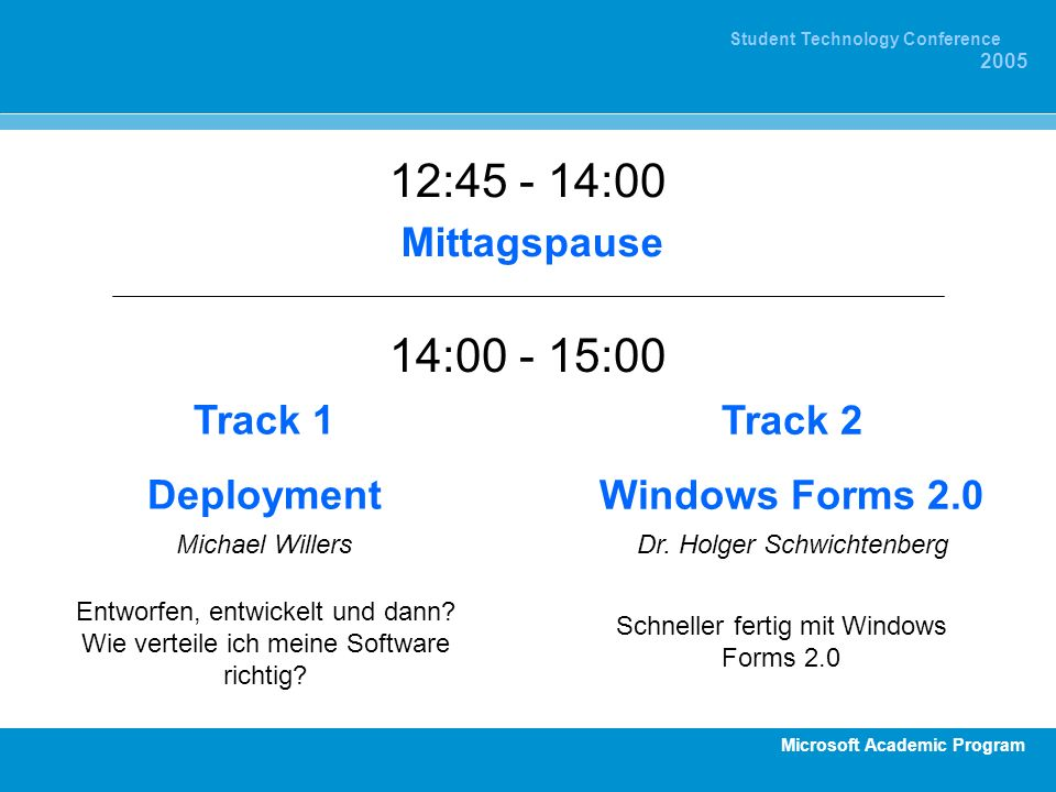 Microsoft Academic Program Student Technology Conference 2005 12:45 - 14:00 Mittagspause Track 1 Deployment Michael Willers Entworfen, entwickelt und