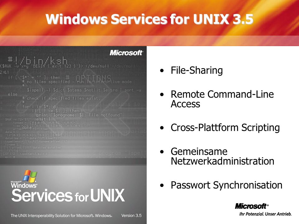 Windows Services for UNIX 3.5 File-Sharing Remote Command-Line Access Cross-Plattform Scripting Gemeinsame Netzwerkadministration Passwort Synchronisa