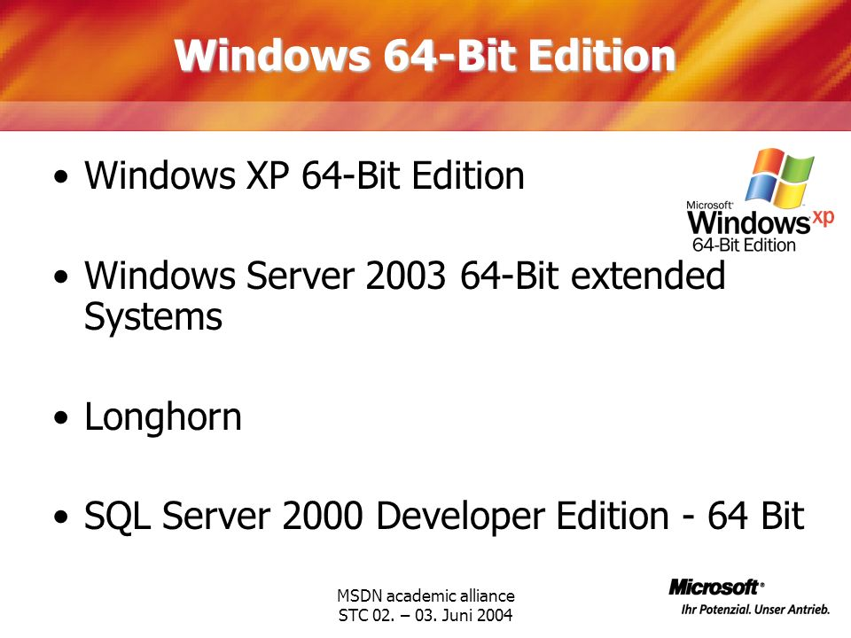 MSDN academic alliance STC 02. – 03. Juni 2004 Windows 64-Bit Edition Windows XP 64-Bit Edition Windows Server 2003 64-Bit extended Systems Longhorn S