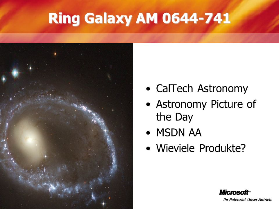 Ring Galaxy AM 0644-741 CalTech Astronomy Astronomy Picture of the Day MSDN AA Wieviele Produkte?