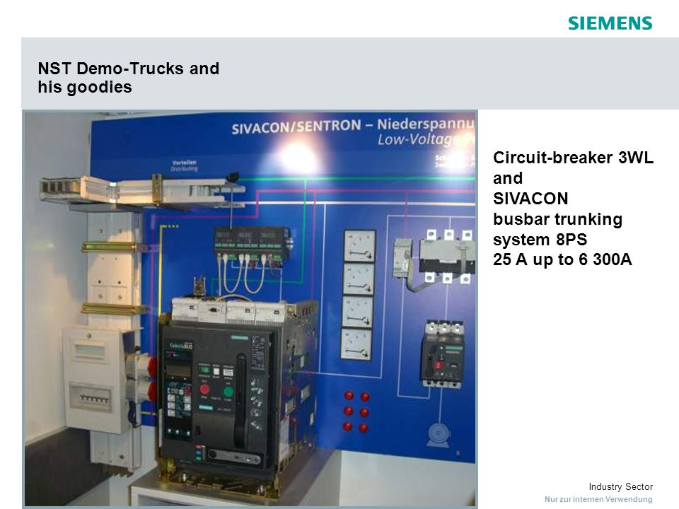 Nur zur internen Verwendung Industry Sector NST Demo-Trucks and his goodies Circuit-breaker 3WL and SIVACON busbar trunking system 8PS 25 A up to 6 30