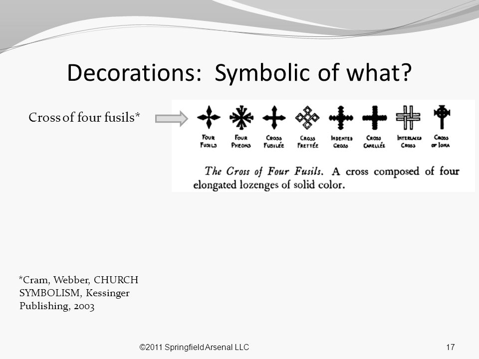 17 Decorations: Symbolic of what? Cross of four fusils* *Cram, Webber, CHURCH SYMBOLISM, Kessinger Publishing, 2003