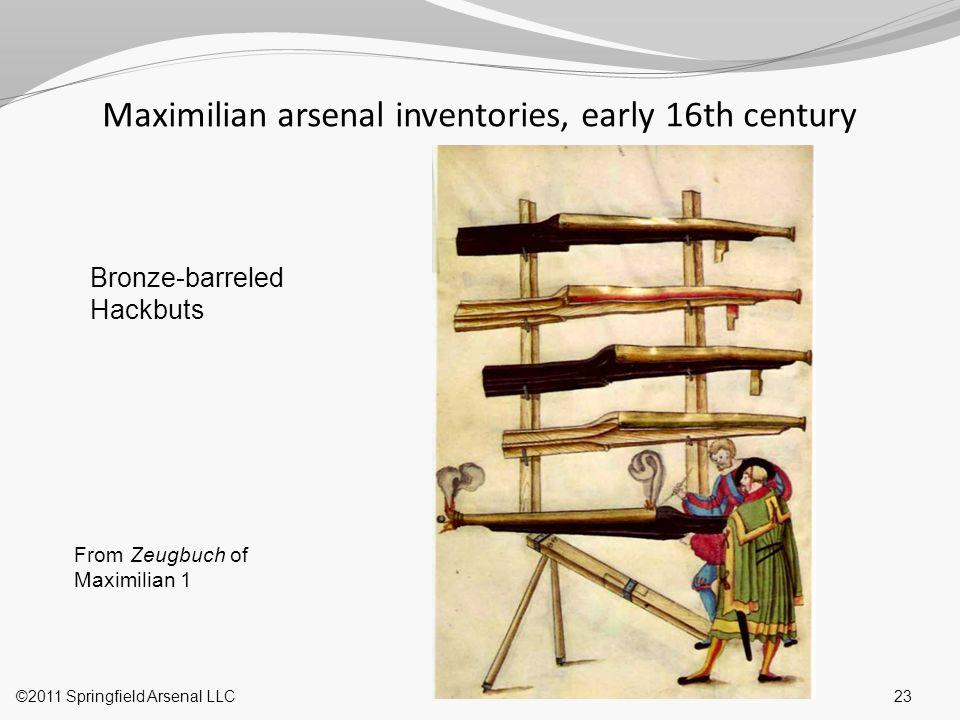 Maximilian arsenal inventories, early 16th century 23©2011 Springfield Arsenal LLC From Zeugbuch of Maximilian 1 Bronze-barreled Hackbuts