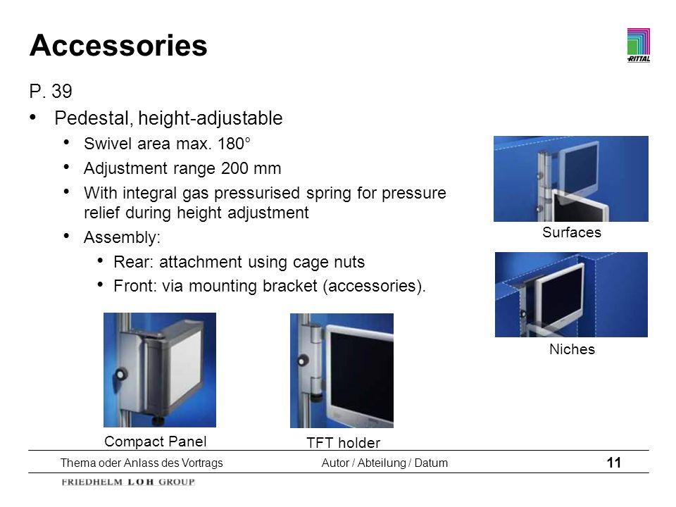 Thema oder Anlass des VortragsAutor / Abteilung / Datum 11 Compact Panel TFT holder Surfaces Niches Accessories P. 39 Pedestal, height-adjustable Swiv