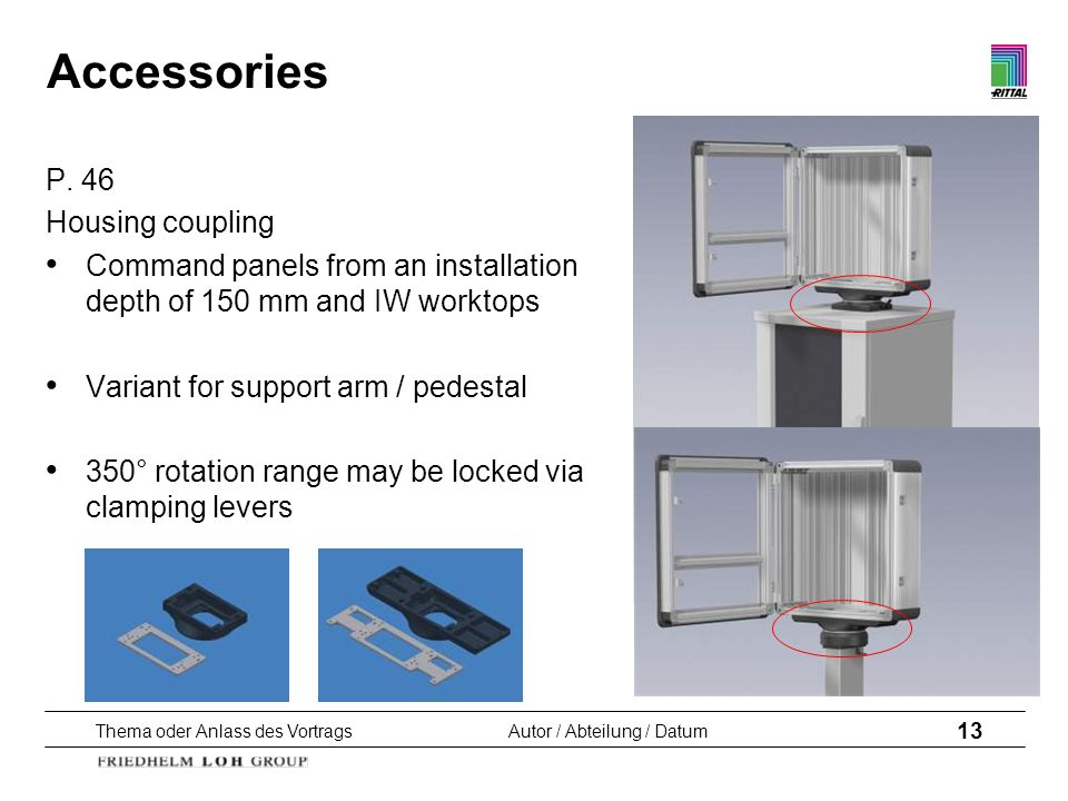 Thema oder Anlass des VortragsAutor / Abteilung / Datum 13 Accessories P. 46 Housing coupling Command panels from an installation depth of 150 mm and